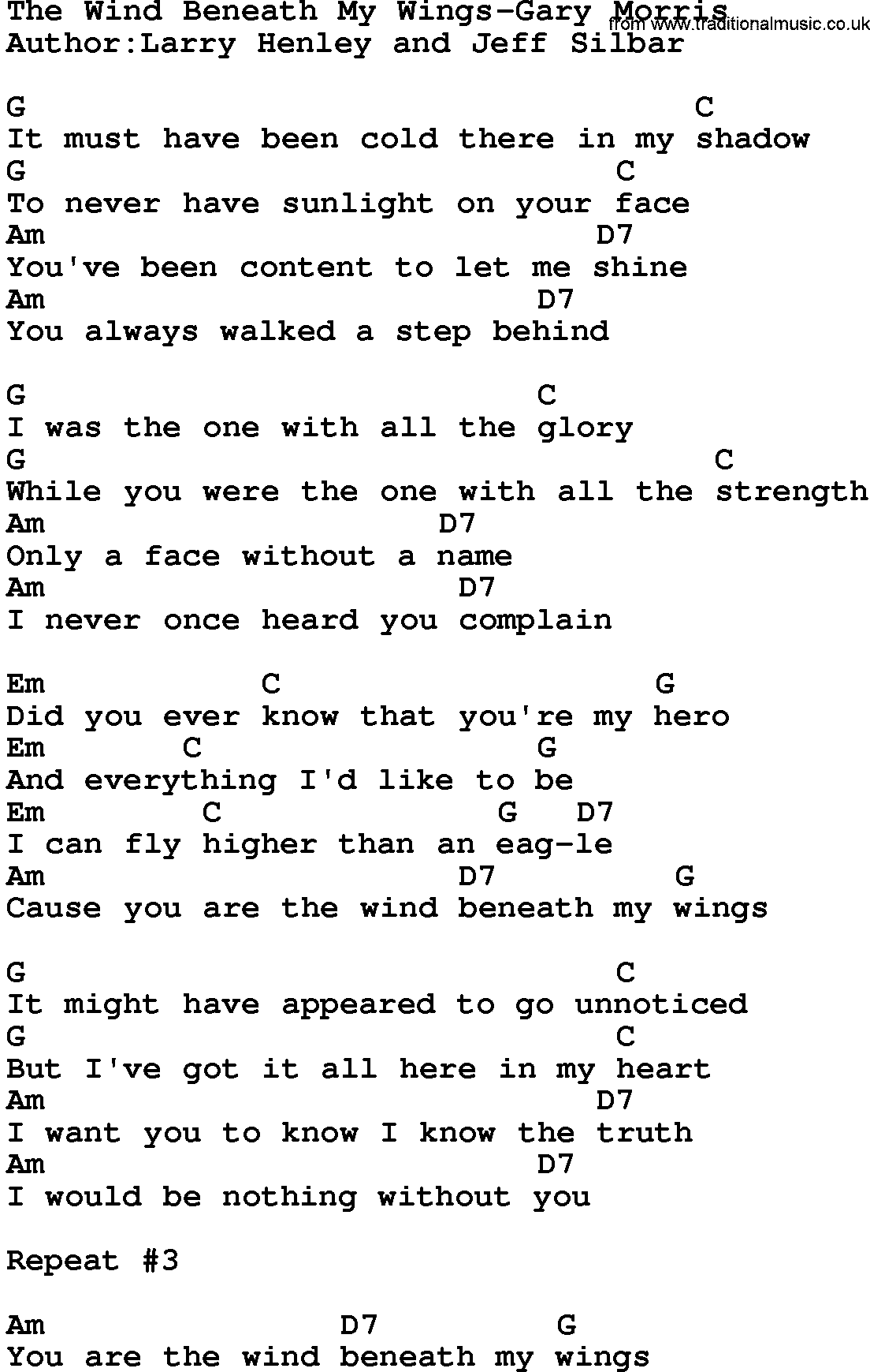 Country Musicthe Wind Beneath My Wings Gary Morris Lyrics And Chords