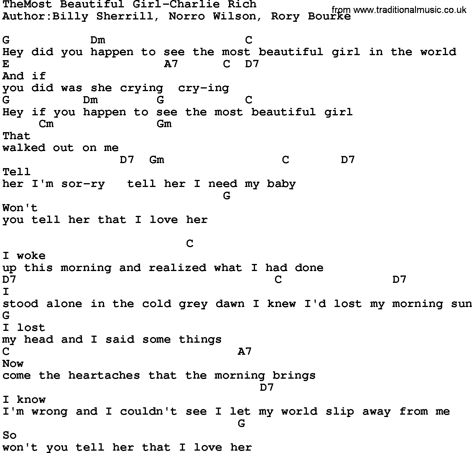 Country Music:Themost Beautiful Girl-Charlie Rich Lyrics ...
