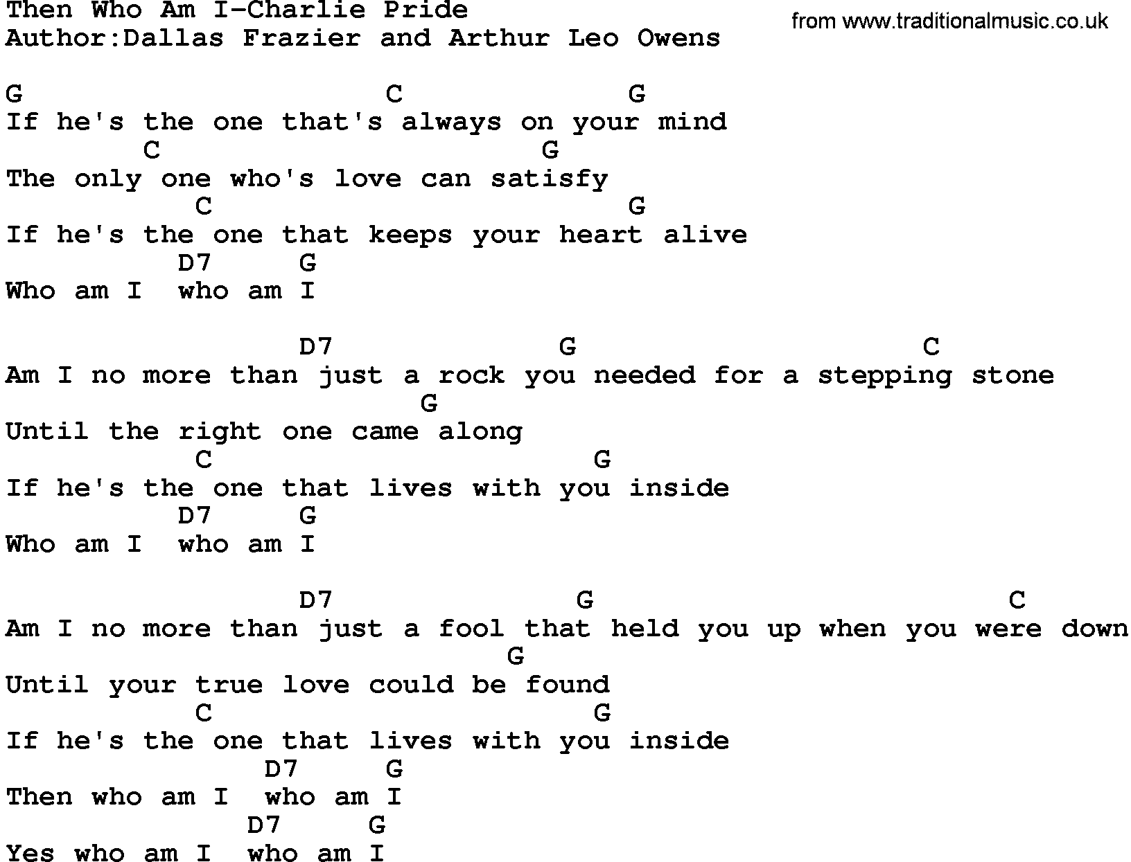 Country Musicthen Who Am I Charlie Pride Lyrics And Chords