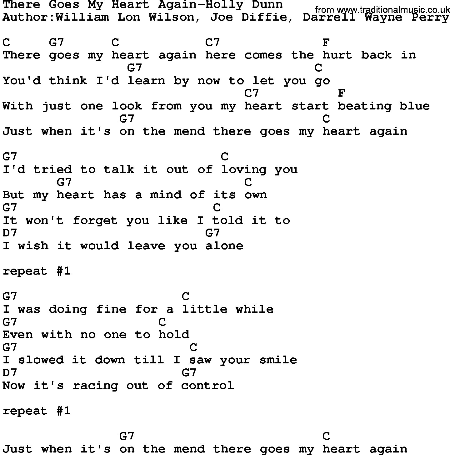 Country Music:There Goes My Heart Again-Holly Dunn Lyrics and Chords