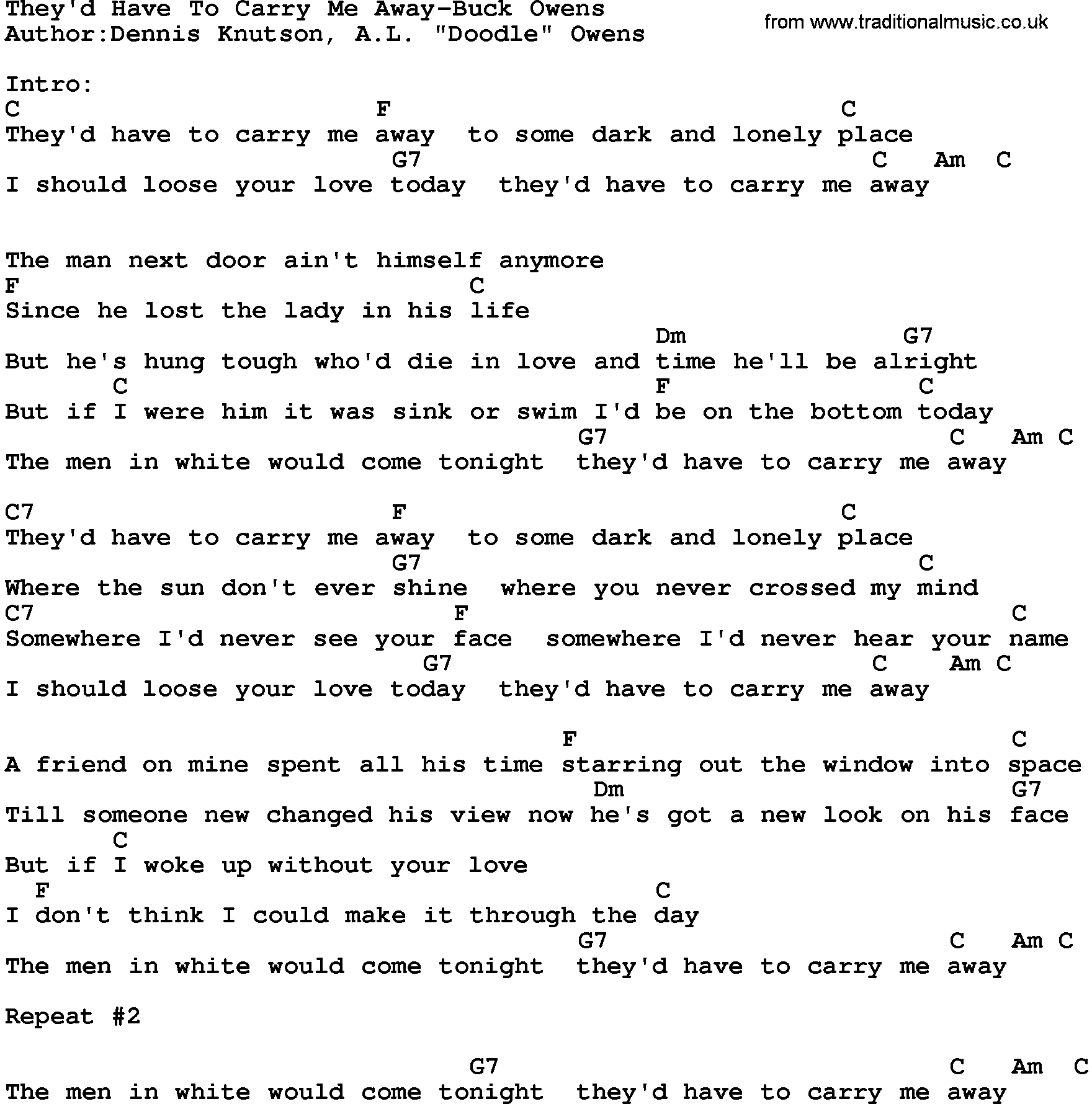 Country Music:They'd Have To Carry Me Away-Buck Owens Lyrics