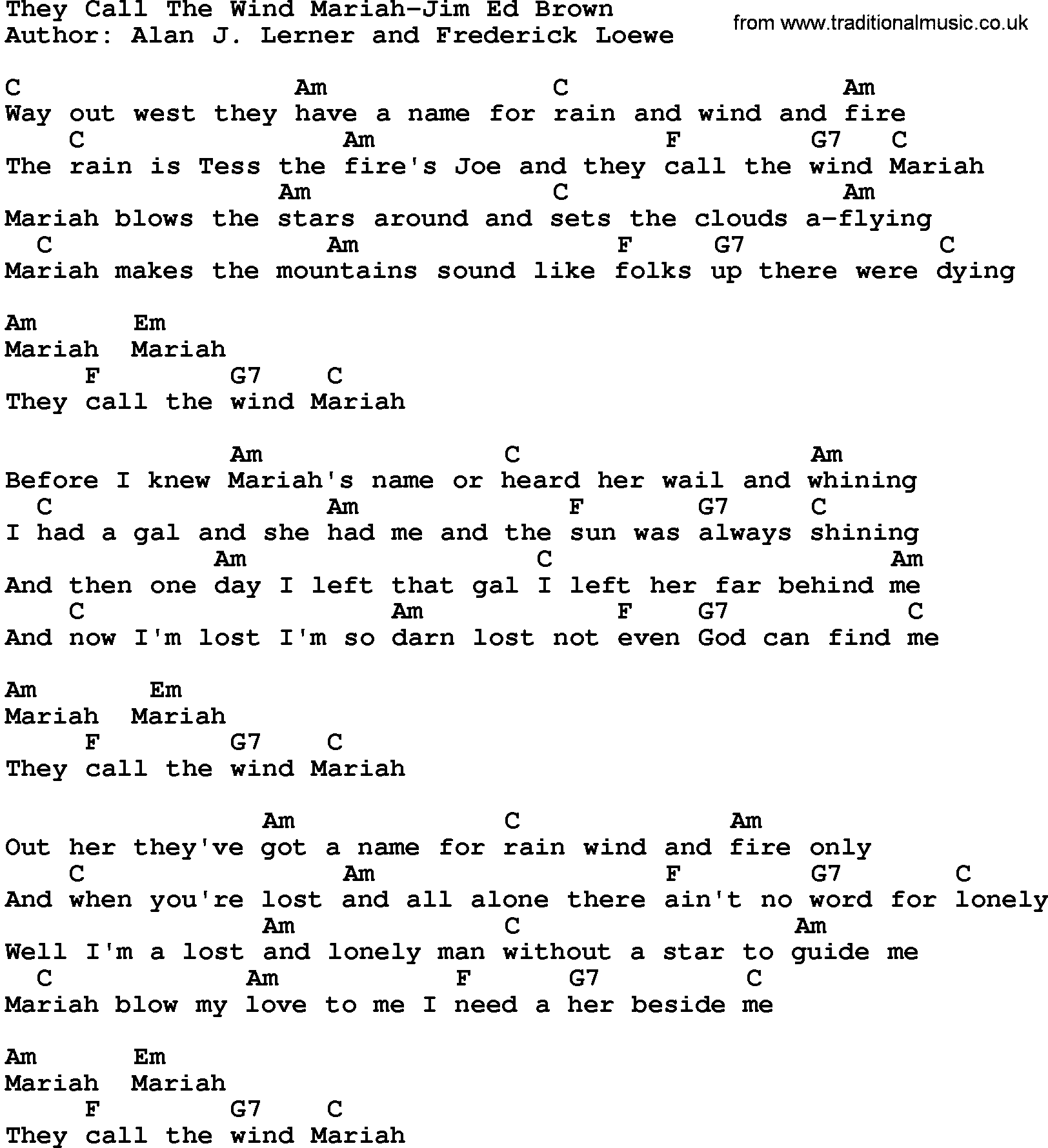 Country Musicthey Call The Wind Mariah Jim Ed Brown Lyrics And Chords