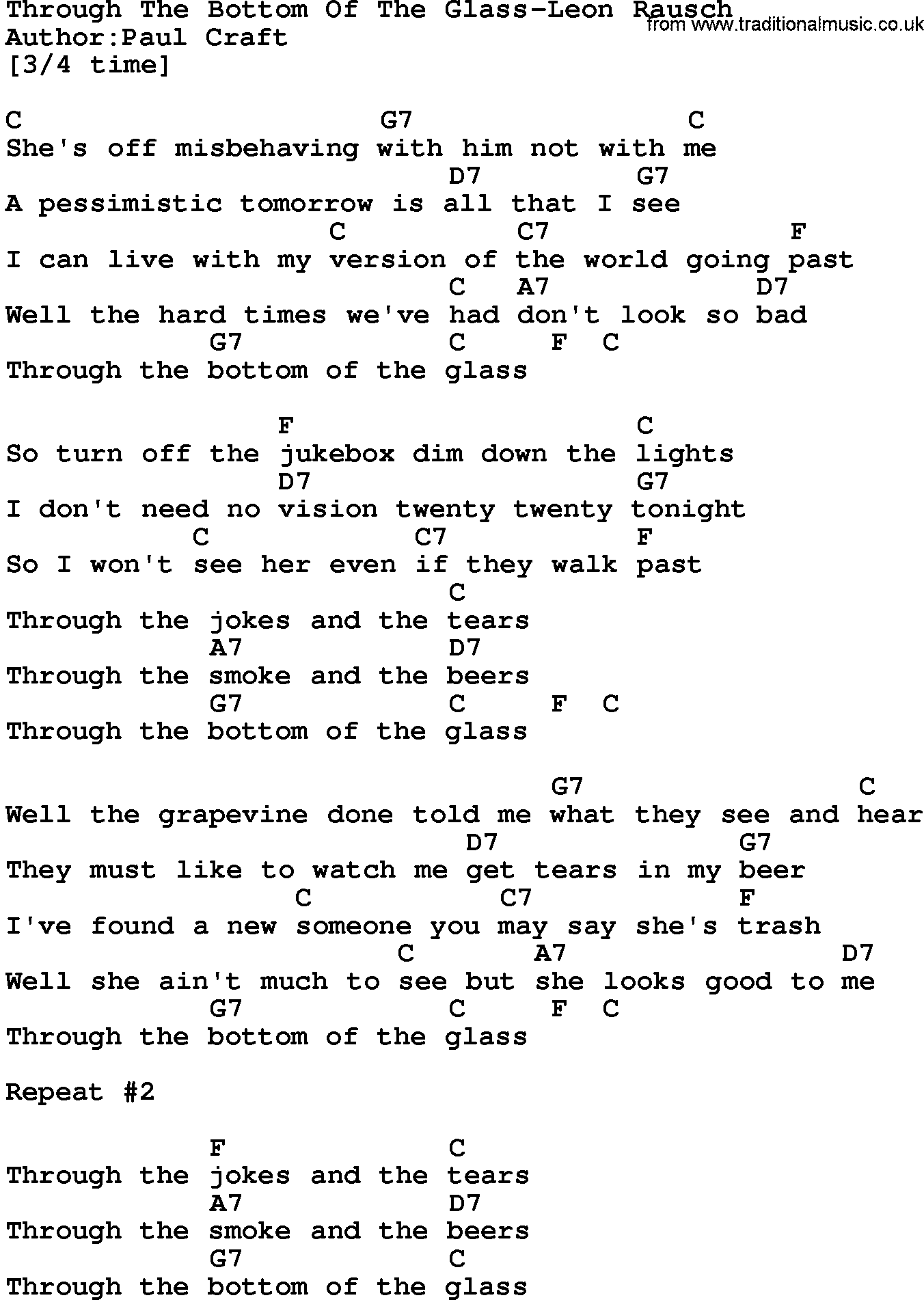 Country Musicthrough The Bottom Of The Glass Leon Rausch Lyrics And