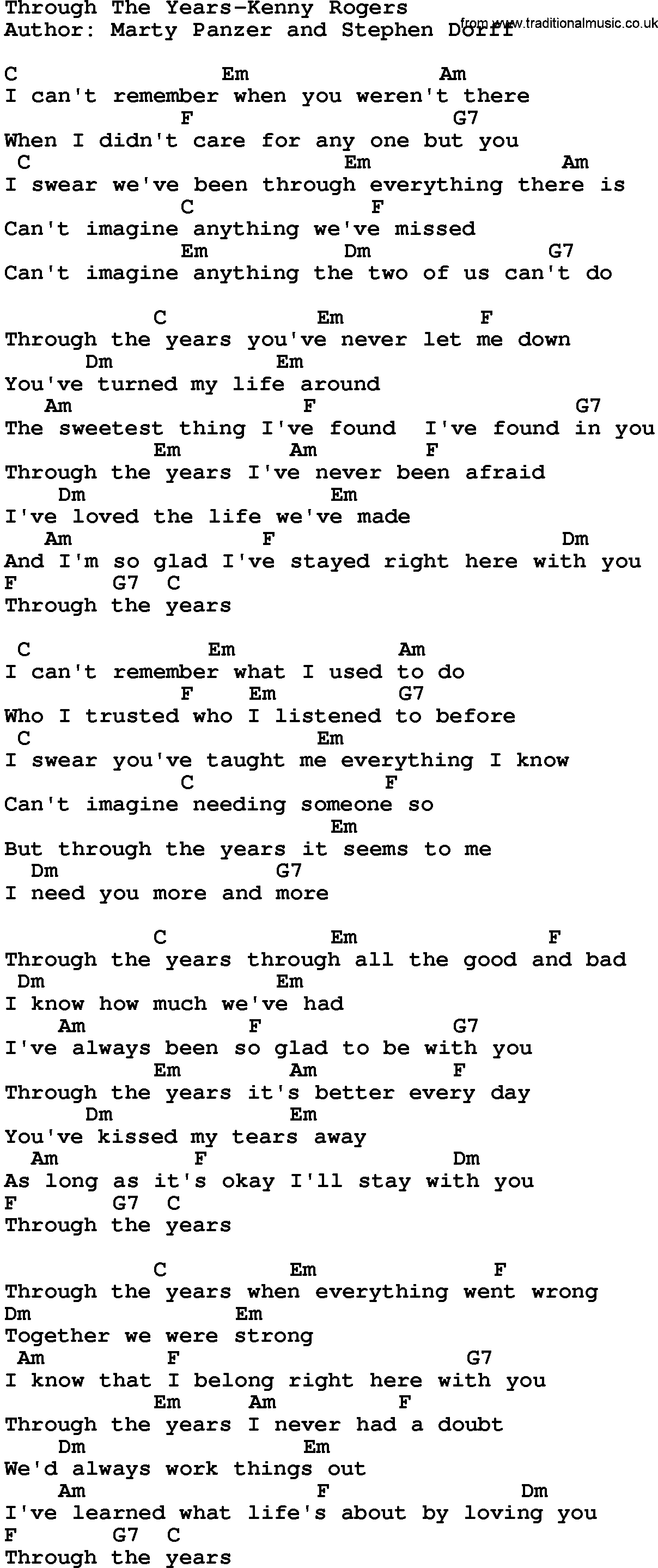 Country Musicthrough The Years Kenny Rogers Lyrics And Chords