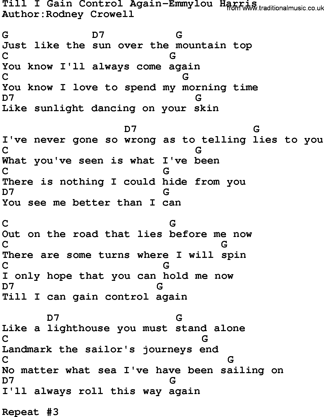 Country Musictill I Gain Control Again Emmylou Harris Lyrics And Chords