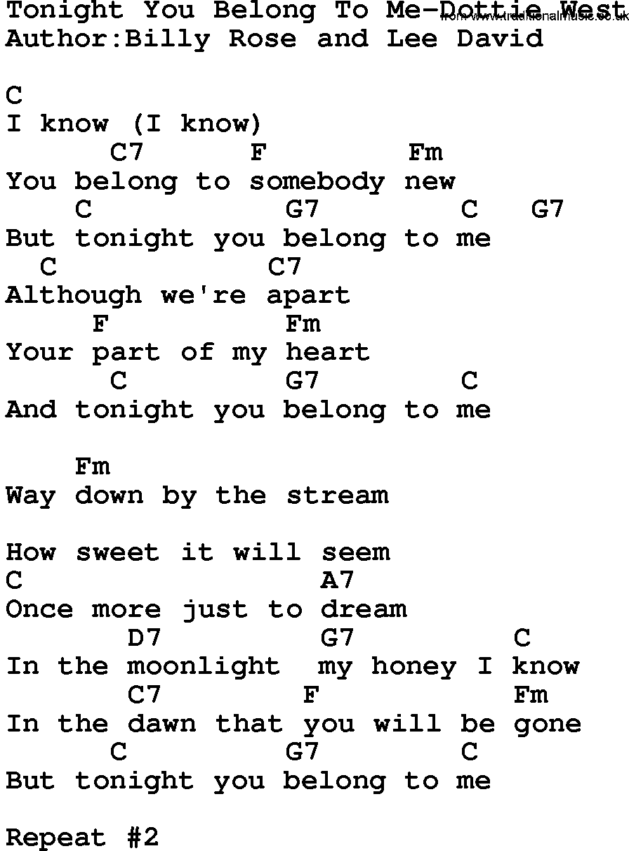 Country musictonight you belong to me dottie west lyrics and chords hexwebz Choice Image