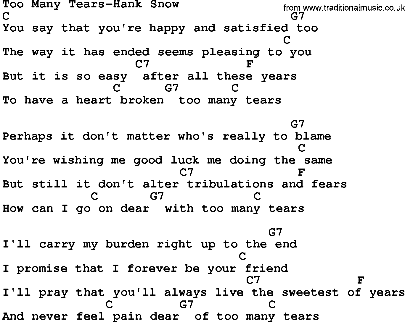 Country Music:Too Many Tears-Hank Snow Lyrics and Chords