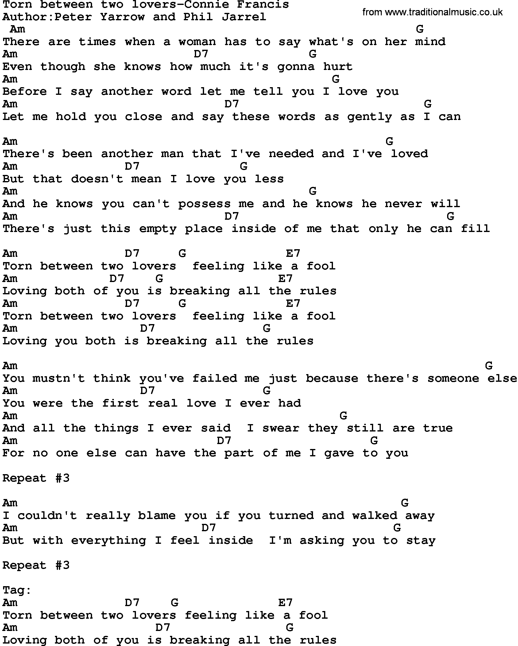 Country Musictorn Between Two Lovers Connie Francis Lyrics And Chords