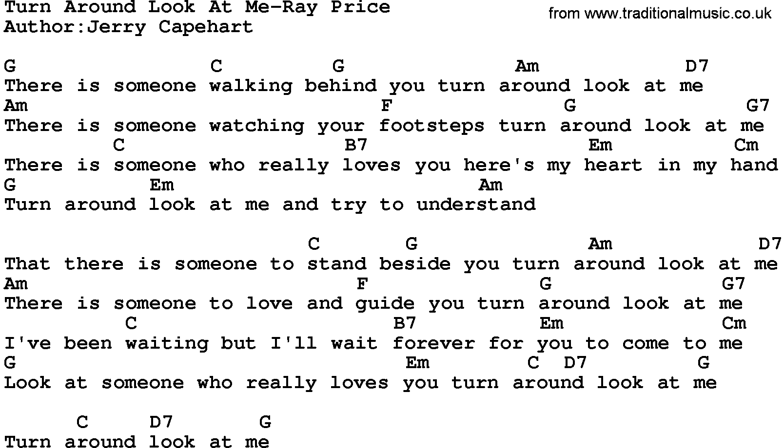 Country musicturn around look at me ray price lyrics and chords hexwebz Images