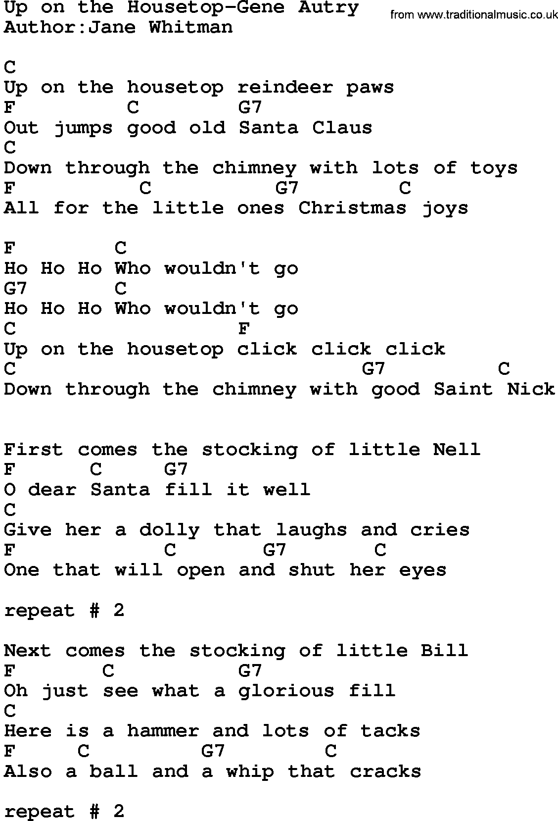 Country Music:Up On The Housetop-Gene Autry Lyrics and Chords