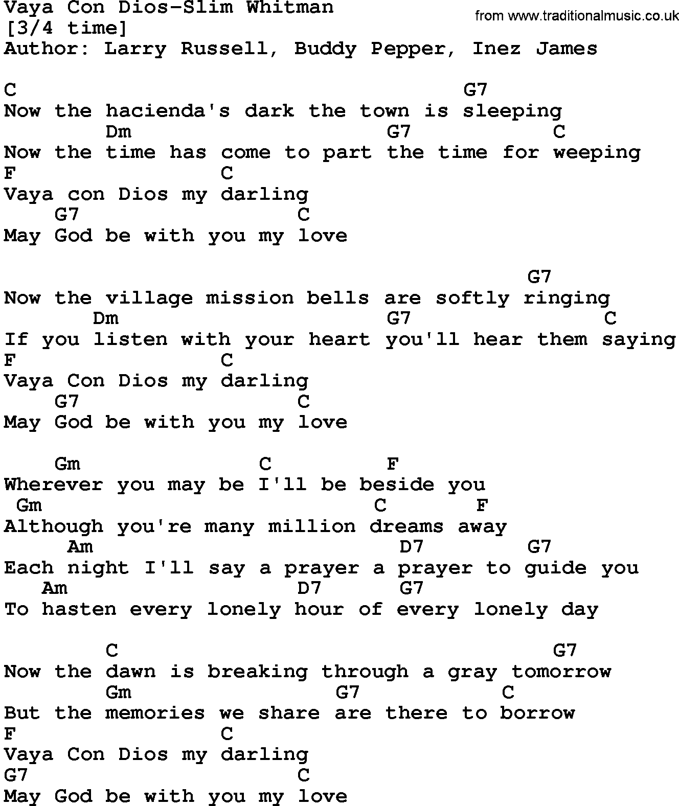 picture regarding A Million Dreams Lyrics Printable referred to as State Audio:Vaya Con Dios-Slender Whitman Lyrics and Chords