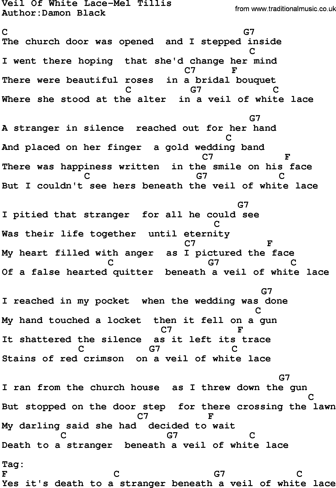 Country musicveil of white lace mel tillis lyrics and chords hexwebz Choice Image