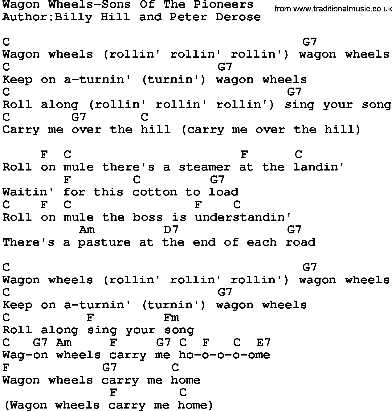Country Music:Wagon Wheels-Sons Of The Pioneers Lyrics and Chords