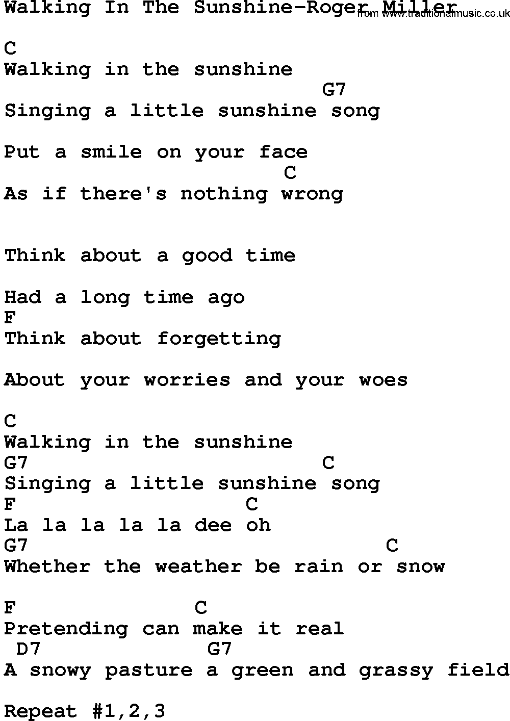 Country Musicwalking In The Sunshine Roger Miller Lyrics And Chords