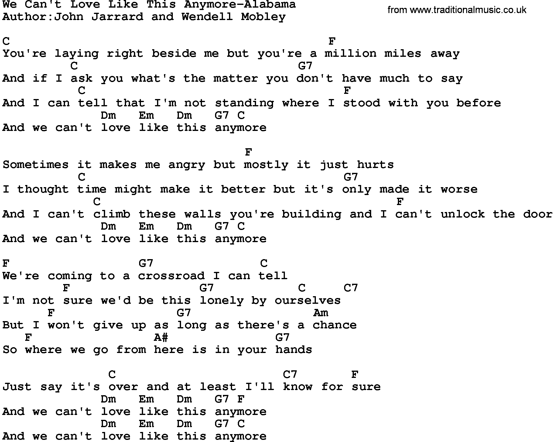 Country Musicwe Cant Love Like This Anymore Alabama Lyrics And Chords