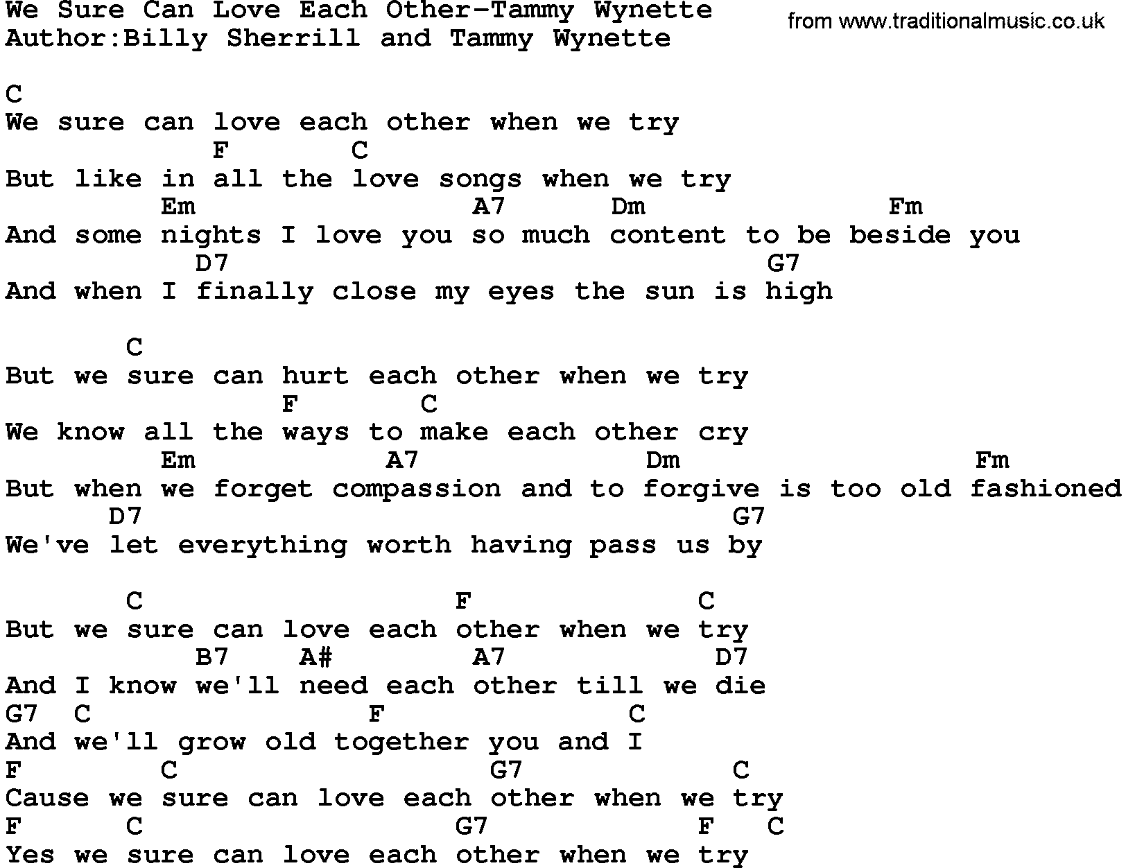 Country Musicwe Sure Can Love Each Other Tammy Wynette Lyrics And