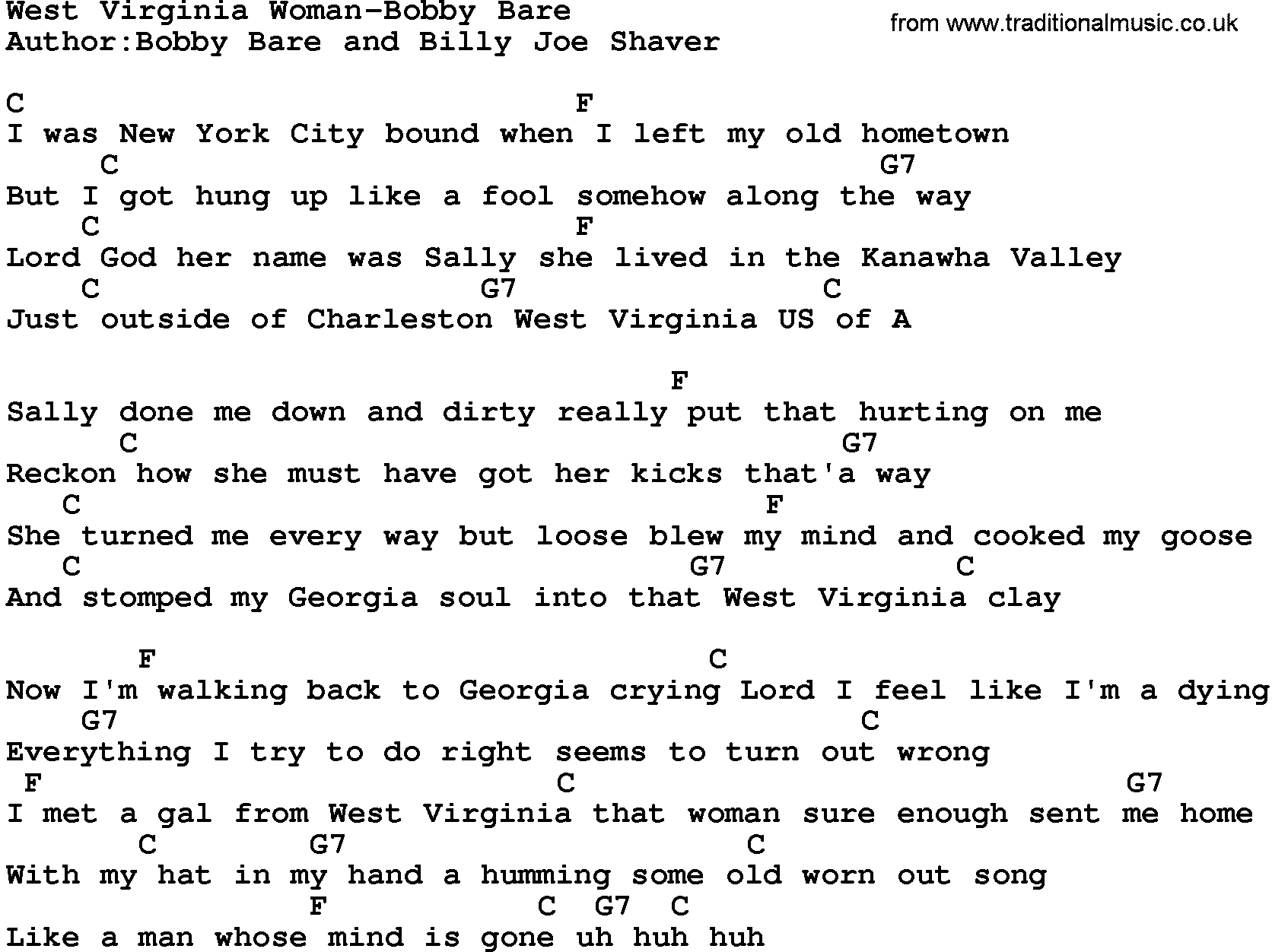 Country Musicwest Virginia Woman Bobby Bare Lyrics And Chords