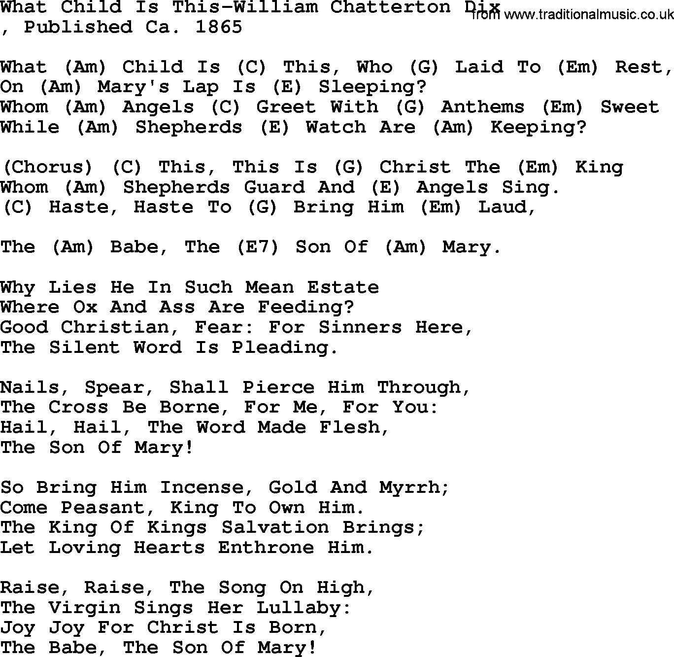 Country Music:What Child Is This-William Chatterton Dix Lyrics and Chords