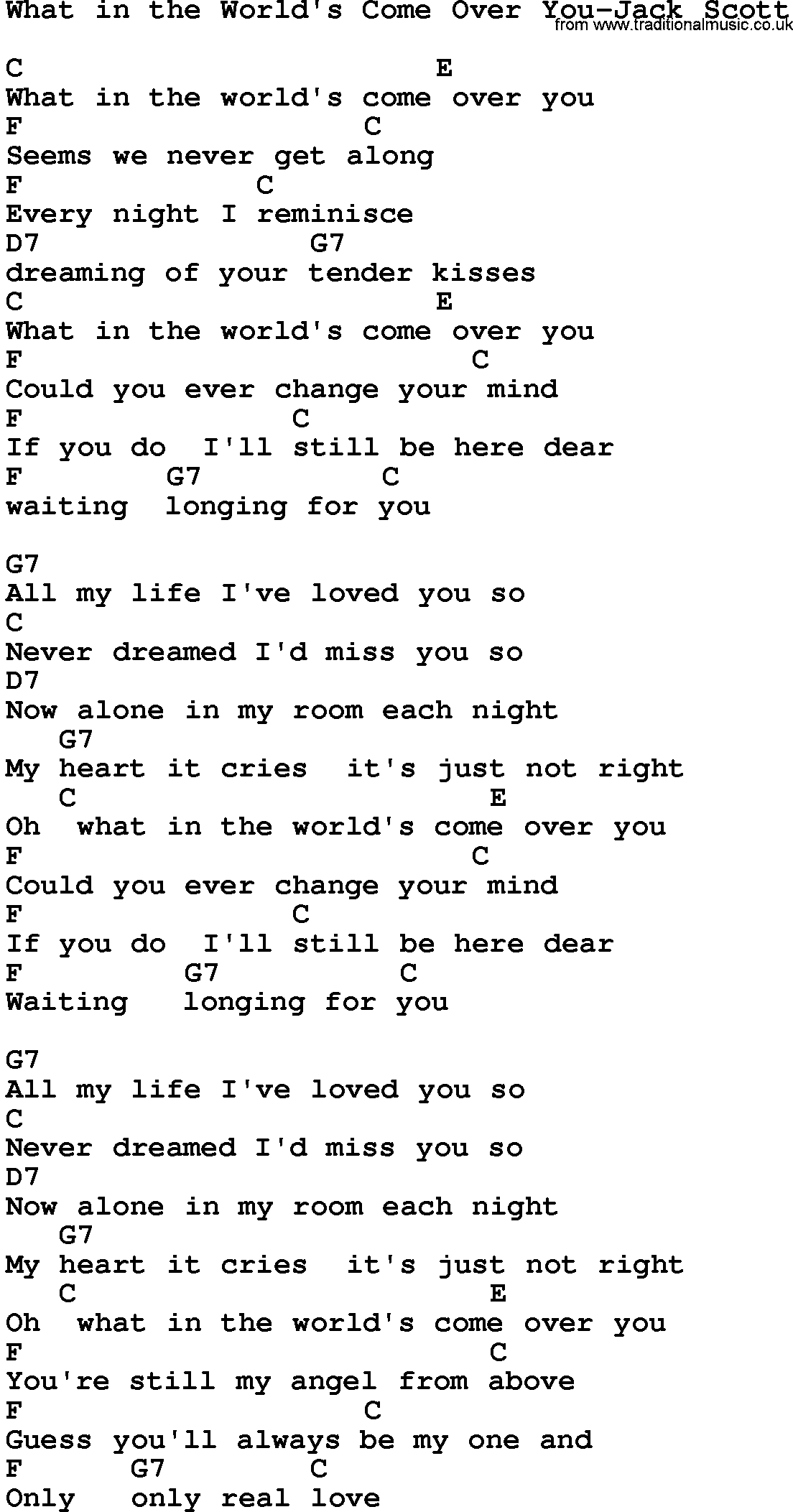 Country Musicwhat In The Worlds Come Over You Jack Scott Lyrics