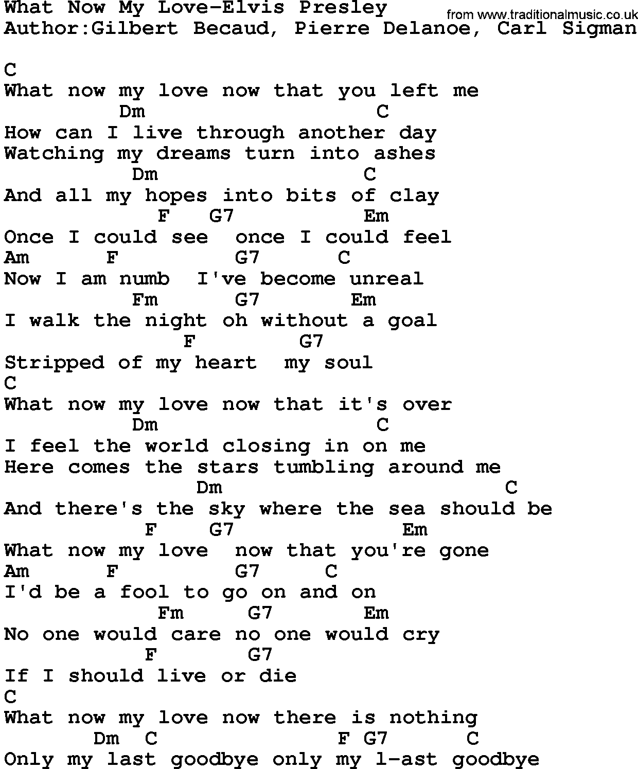 Country musicwhat now my love elvis presley lyrics and chords hexwebz Image collections