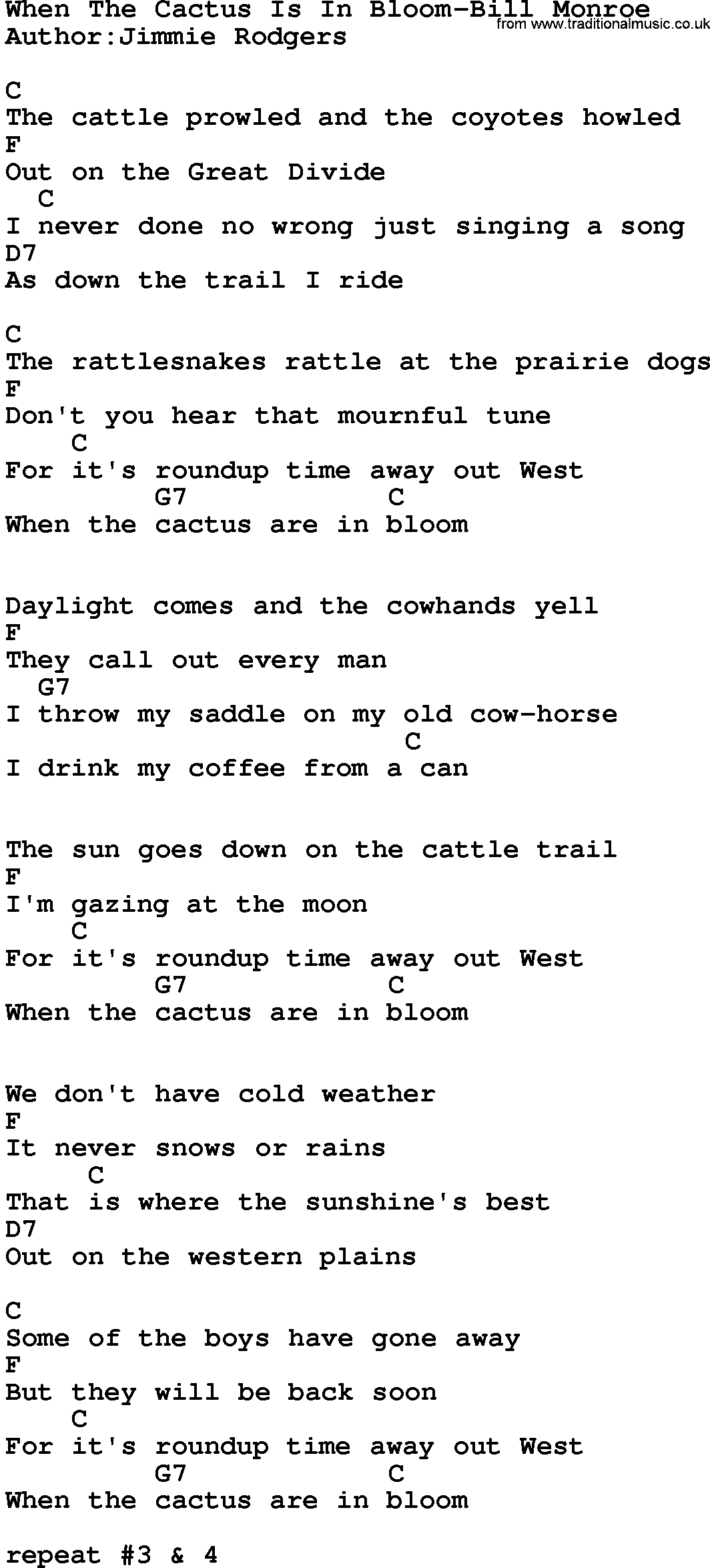 Country Musicwhen The Cactus Is In Bloom Bill Monroe Lyrics And Chords