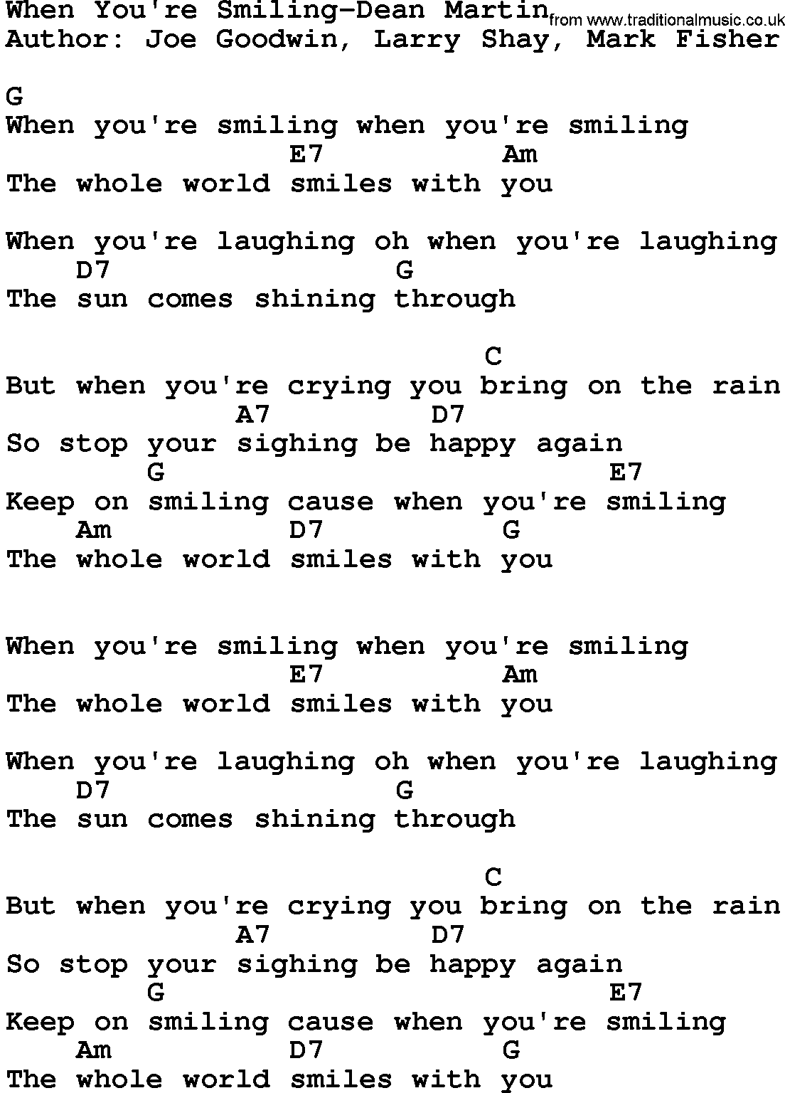 Country musicwhen youre smiling dean martin lyrics and chords hexwebz Images