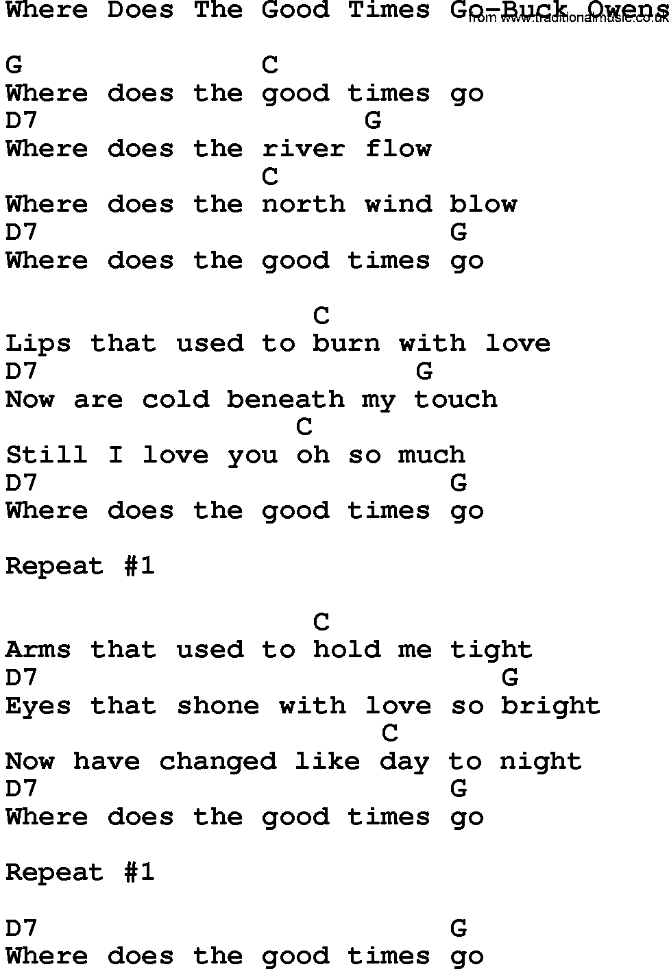Country Musicwhere Does The Good Times Go Buck Owens Lyrics And Chords