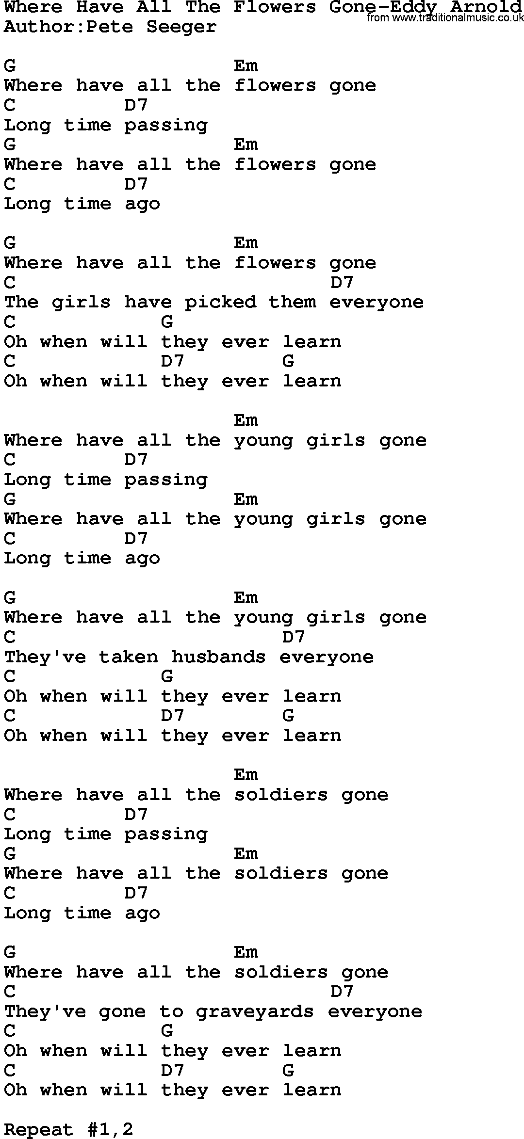 Country Musicwhere Have All The Flowers Gone Eddy Arnold Lyrics And
