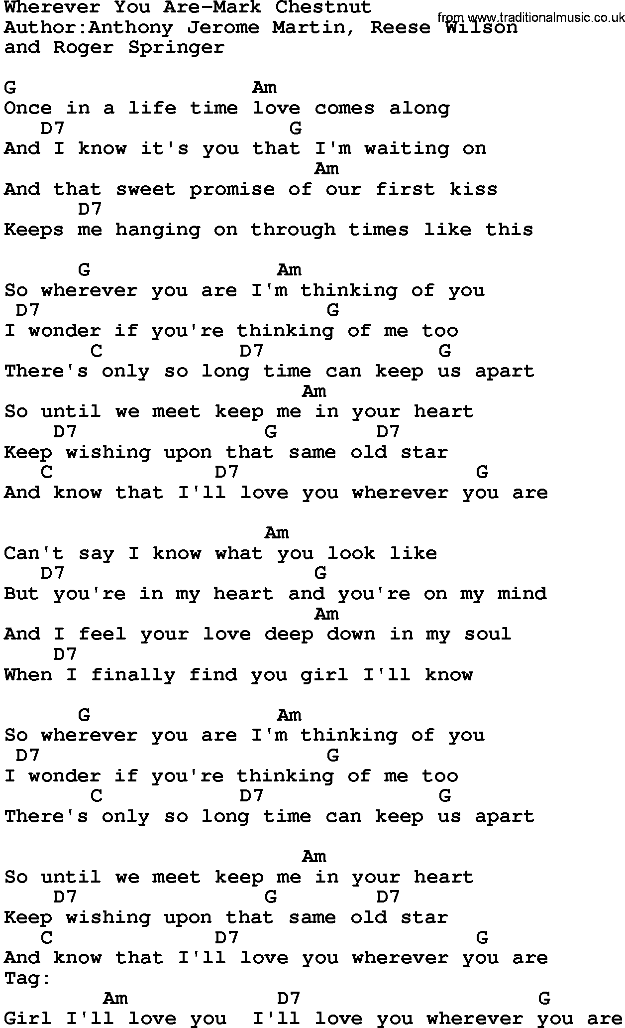 Country MusicWherever You Are Mark Chestnut Lyrics and Chords