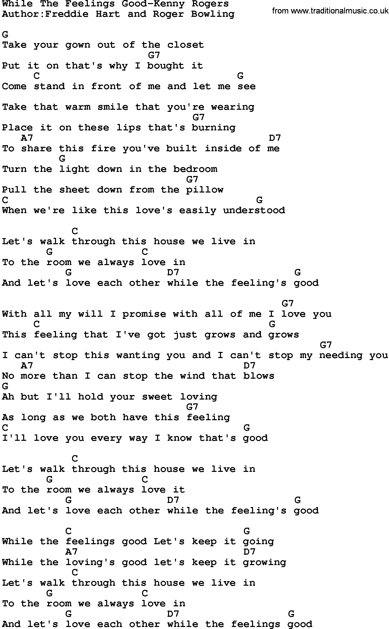 Country Musicwhile The Feelings Good Kenny Rogers Lyrics And Chords
