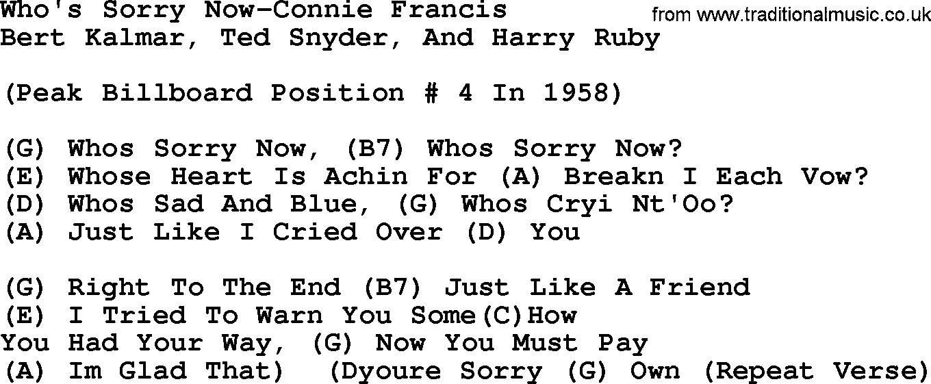 Country Musicwhos Sorry Now Connie Francis Lyrics And Chords