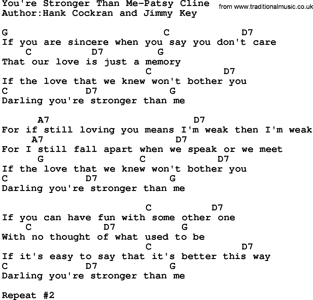 Country musicyoure stronger than me patsy cline lyrics and chords hexwebz Image collections