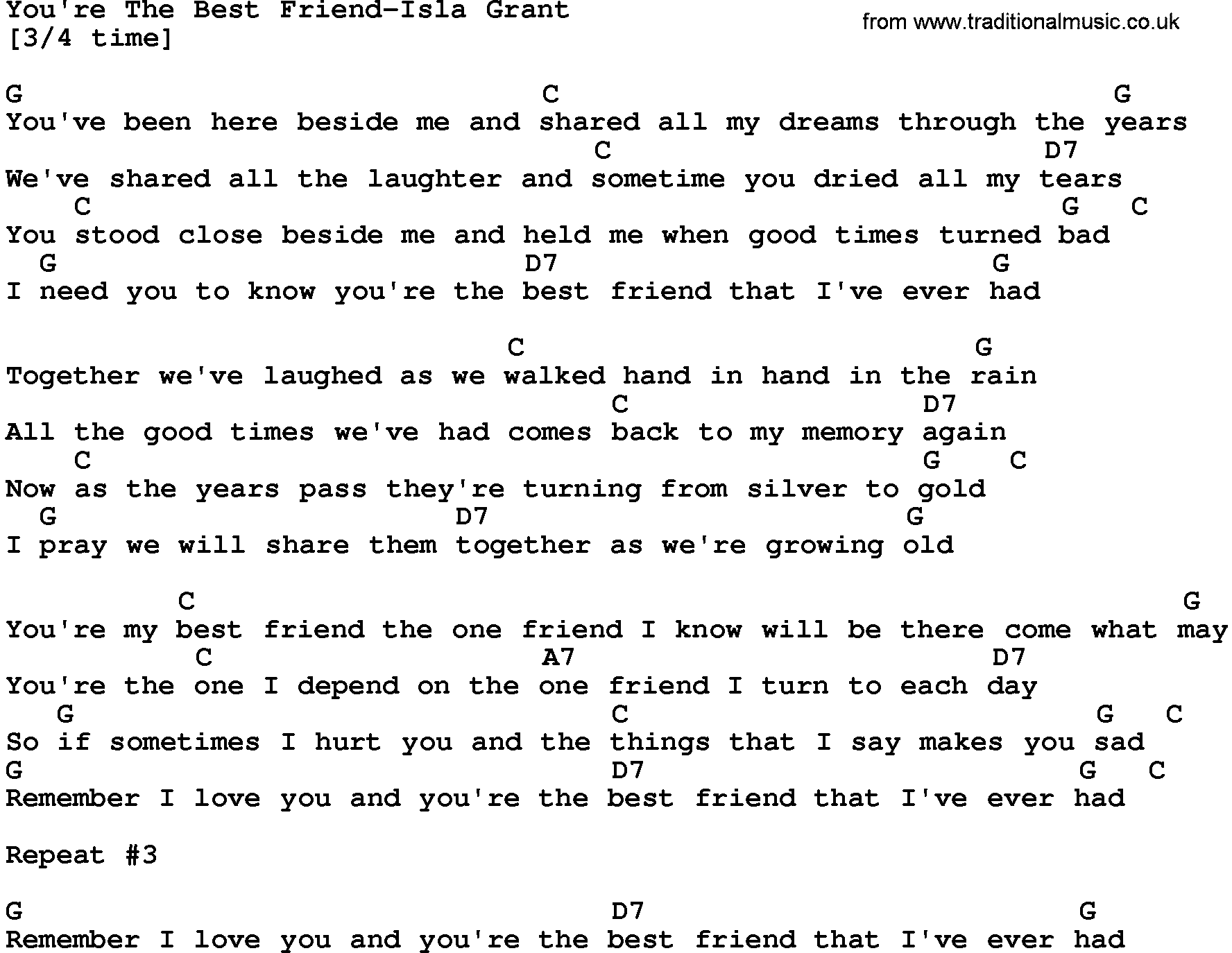 Country Musicyoure The Best Friend Isla Grant Lyrics And Chords