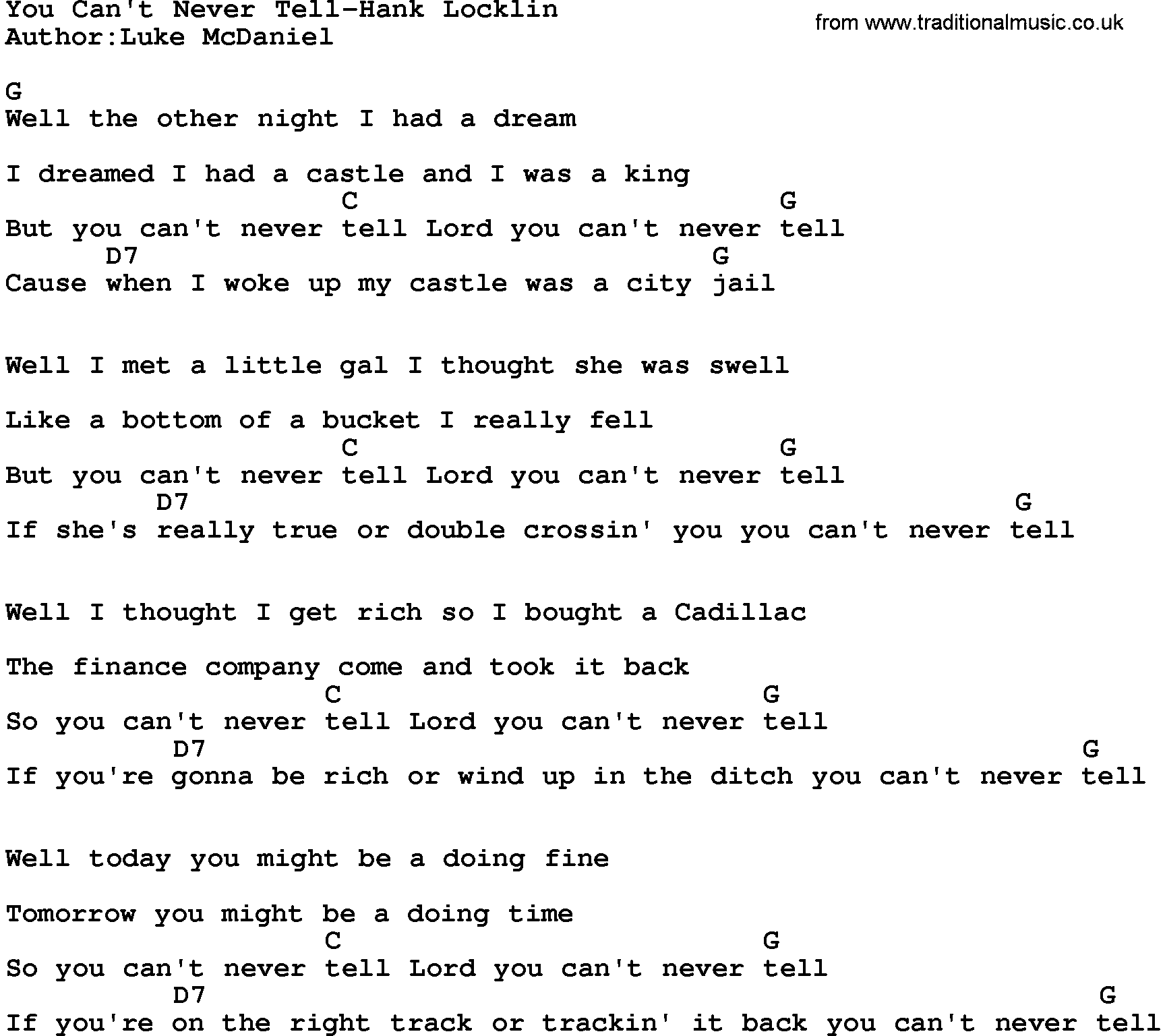 Country Musicyou Cant Never Tell Hank Locklin Lyrics And Chords