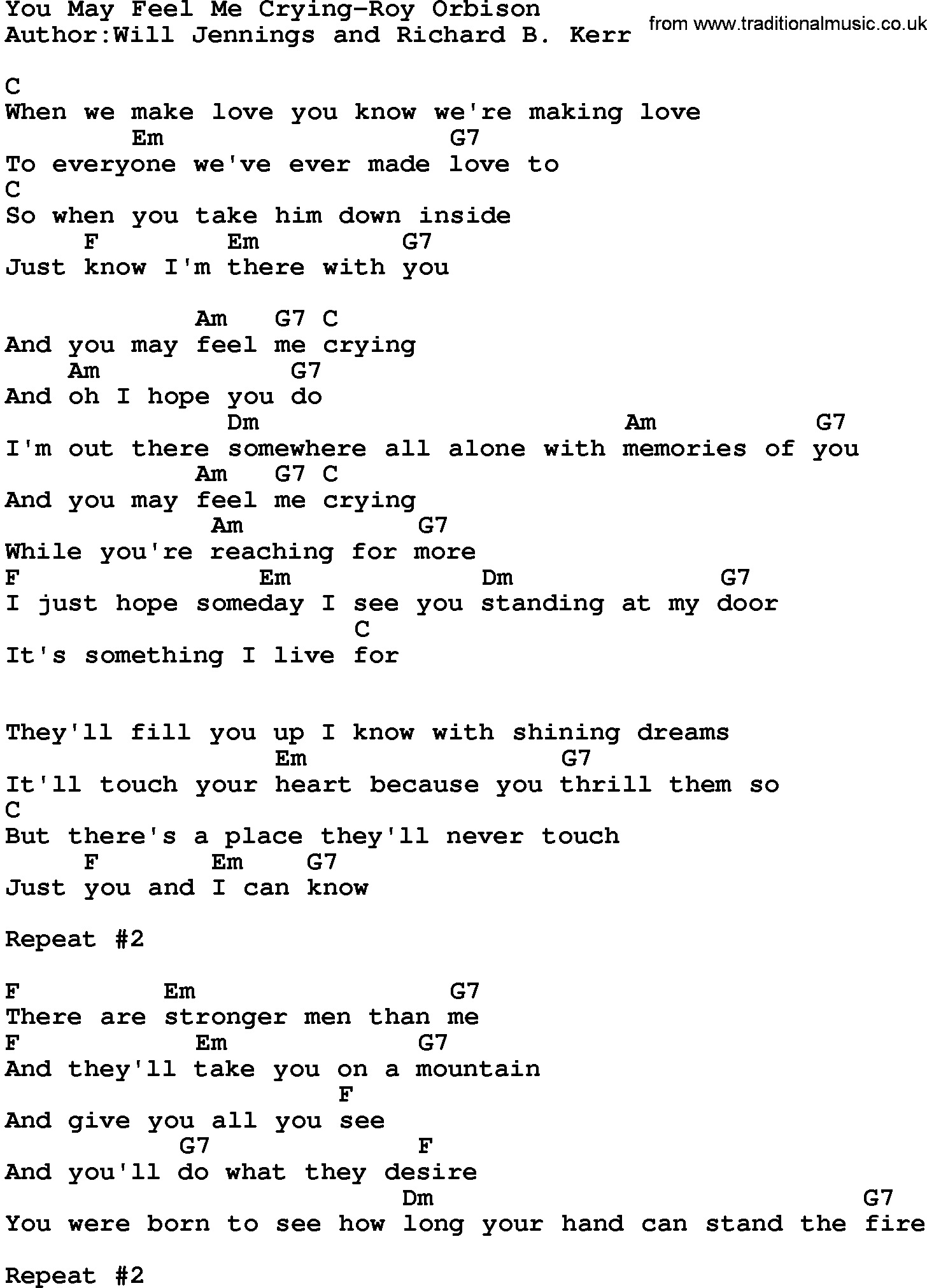 Country musicyou may feel me crying roy orbison lyrics and chords hexwebz Image collections