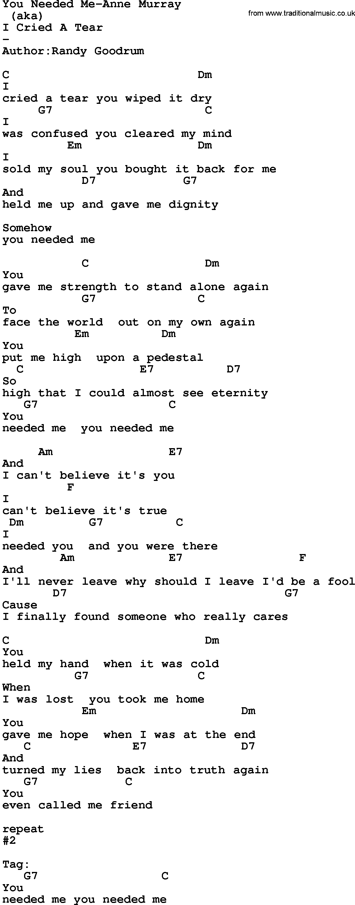 Country Music:You Needed Me-Anne Murray Lyrics and Chords