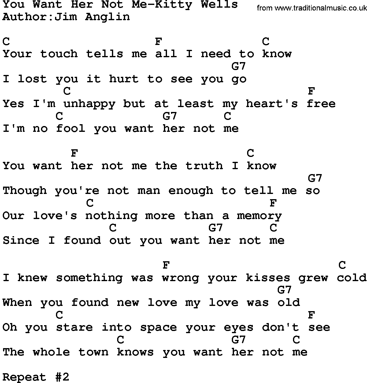 Country Musicyou Want Her Not Me Kitty Wells Lyrics And Chords