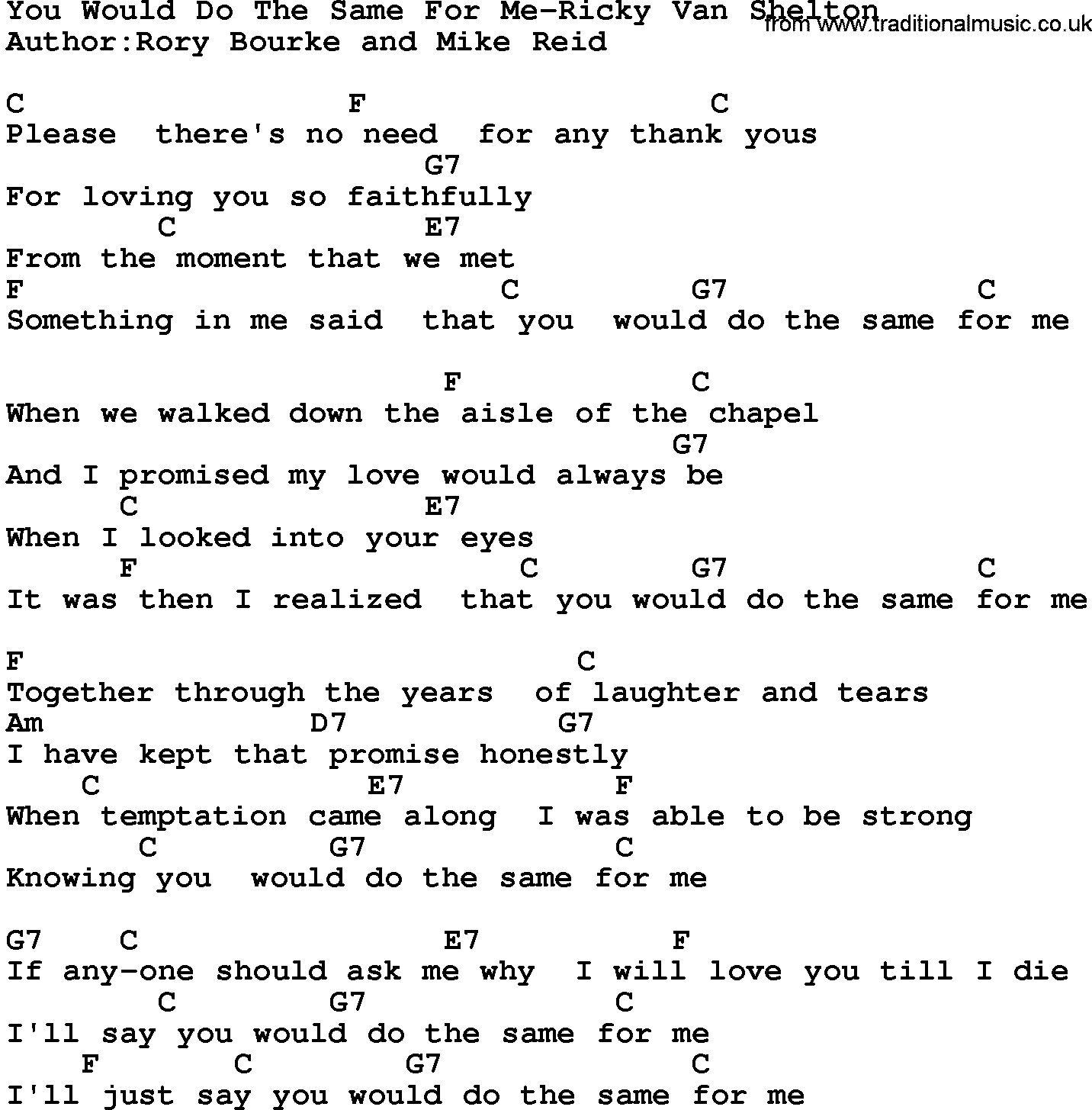 Country Musicyou Would Do The Same For Me Ricky Van Shelton Lyrics