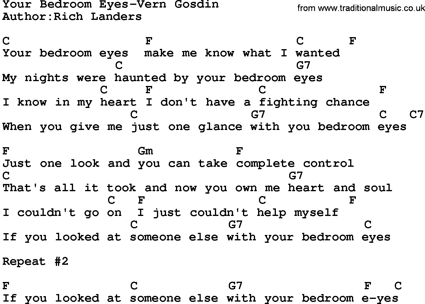 country music your bedroom eyes vern gosdin lyrics and chords