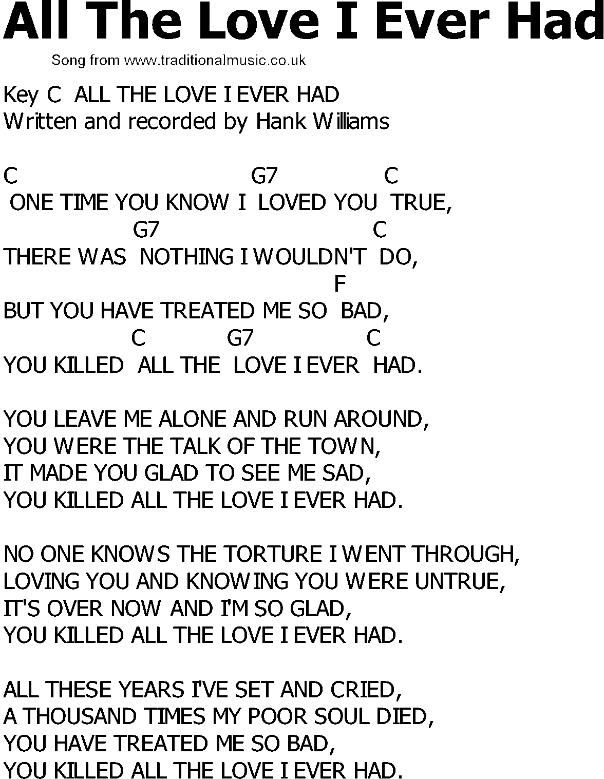 Old Country Song Lyrics With Chords All The Love I Ever Had