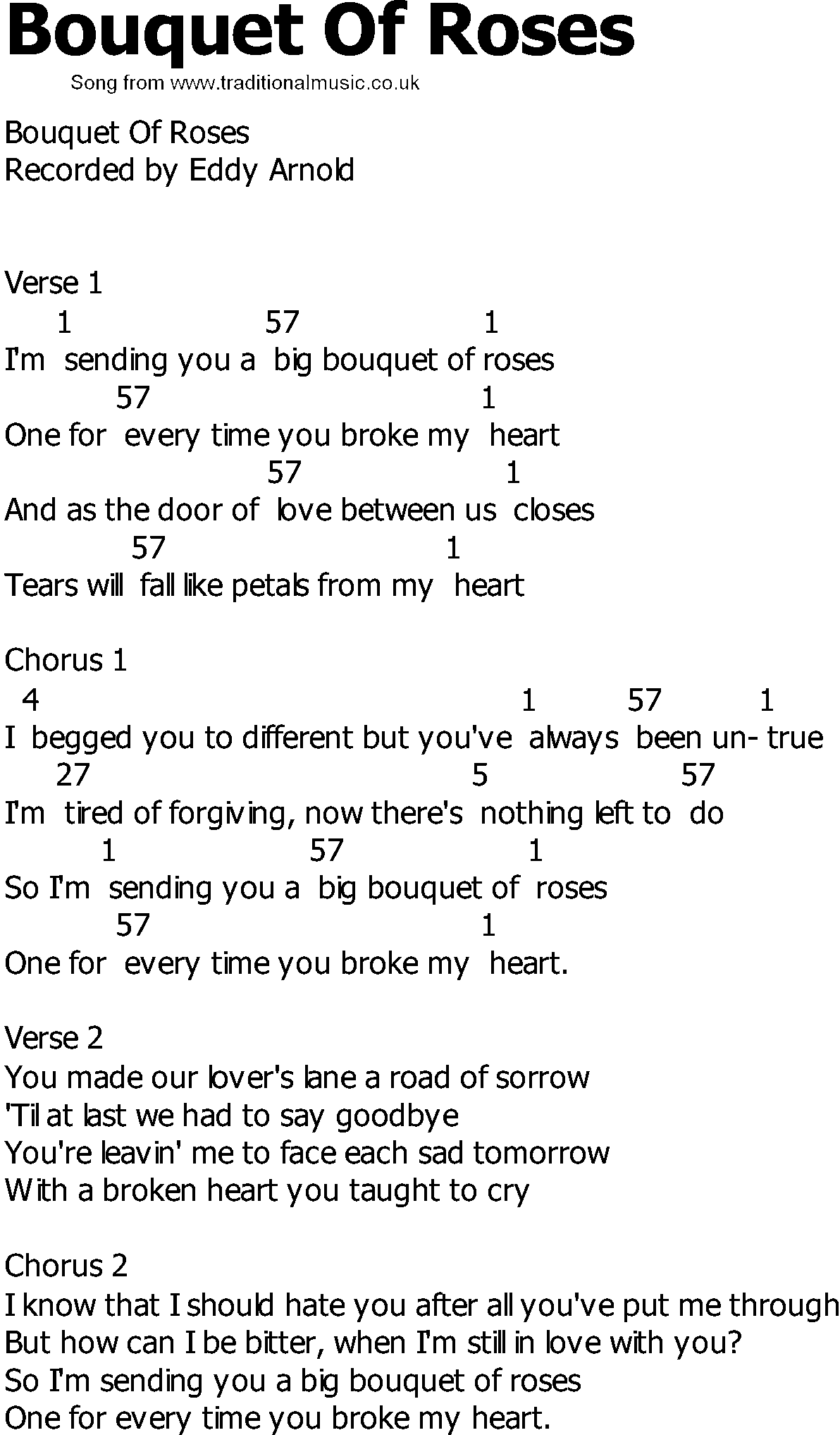Old Country Song Lyrics With Chords Bouquet Of Roses