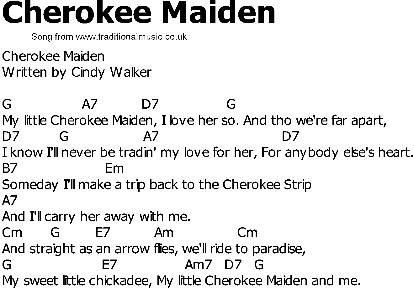 Old Country Song Lyrics With Chords Cherokee Maiden