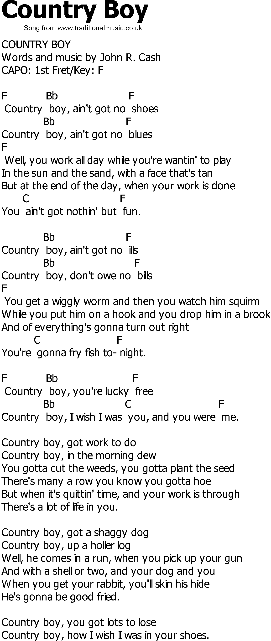 Old Country Song Lyrics With Chords Country Boy