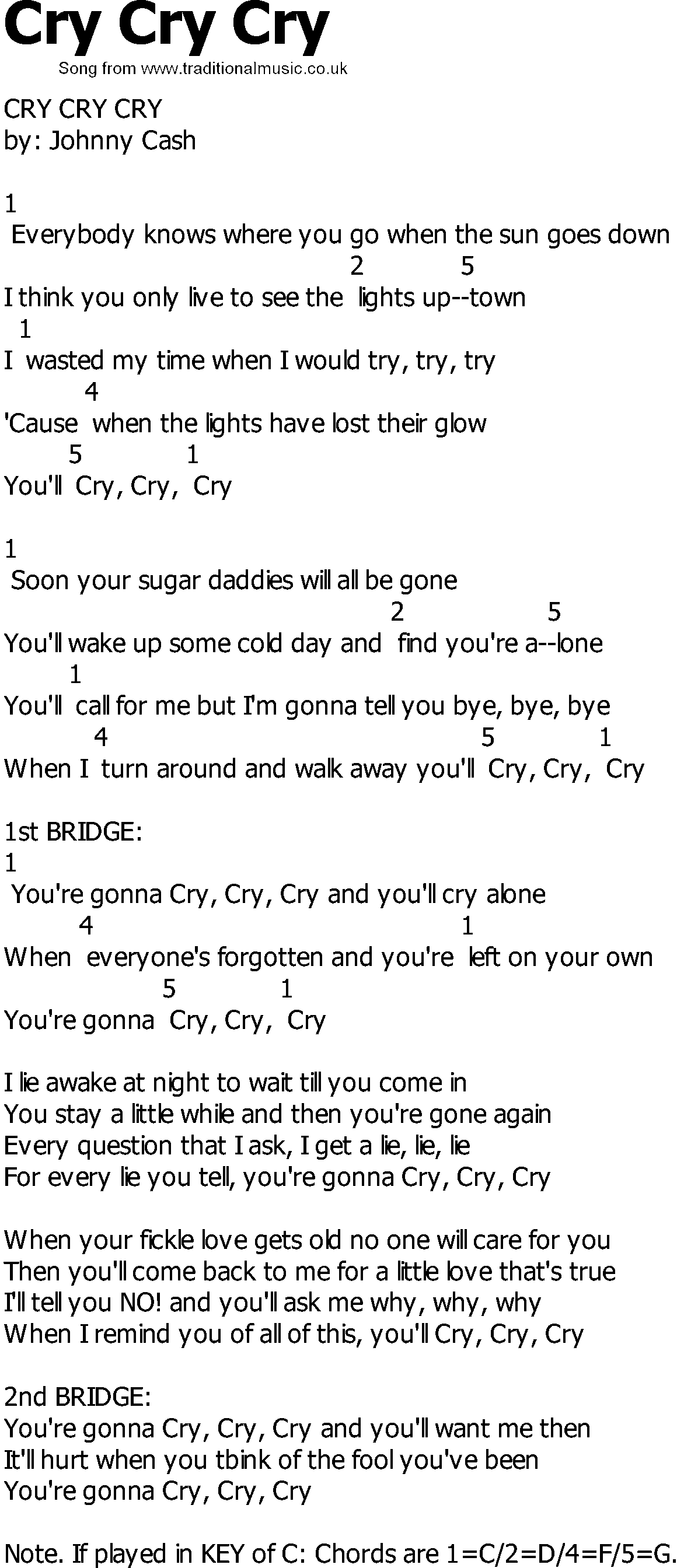 Old Country Song Lyrics With Chords Cry Cry Cry
