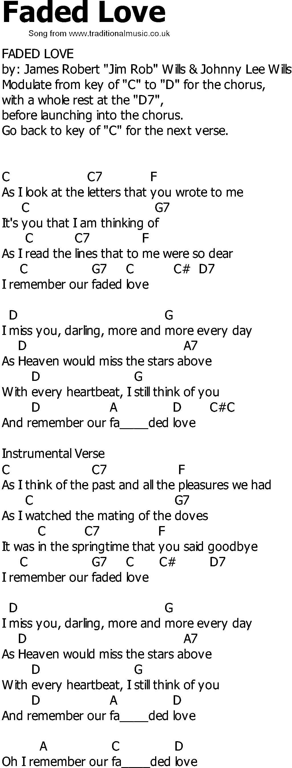 Old Country Song Lyrics With Chords Faded Love