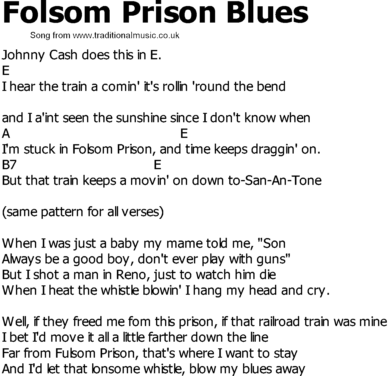 Old Country song lyrics with chords - Folsom Prison Blues
