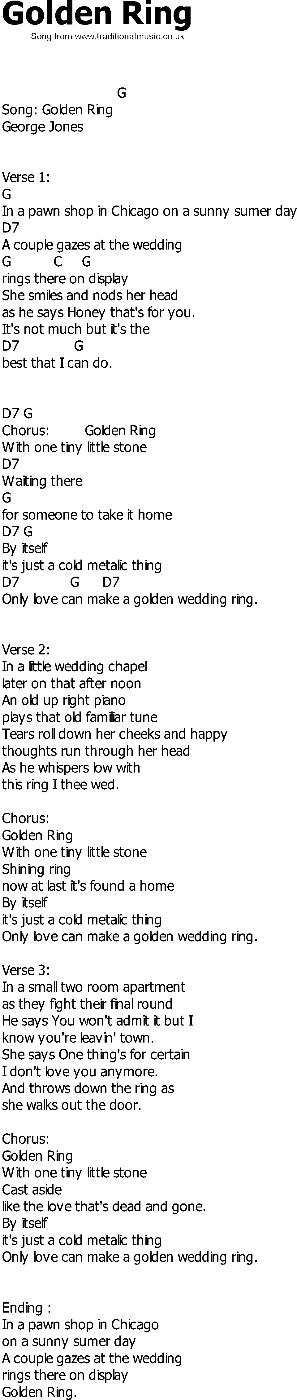Country song lyrics with chords Golden Ring