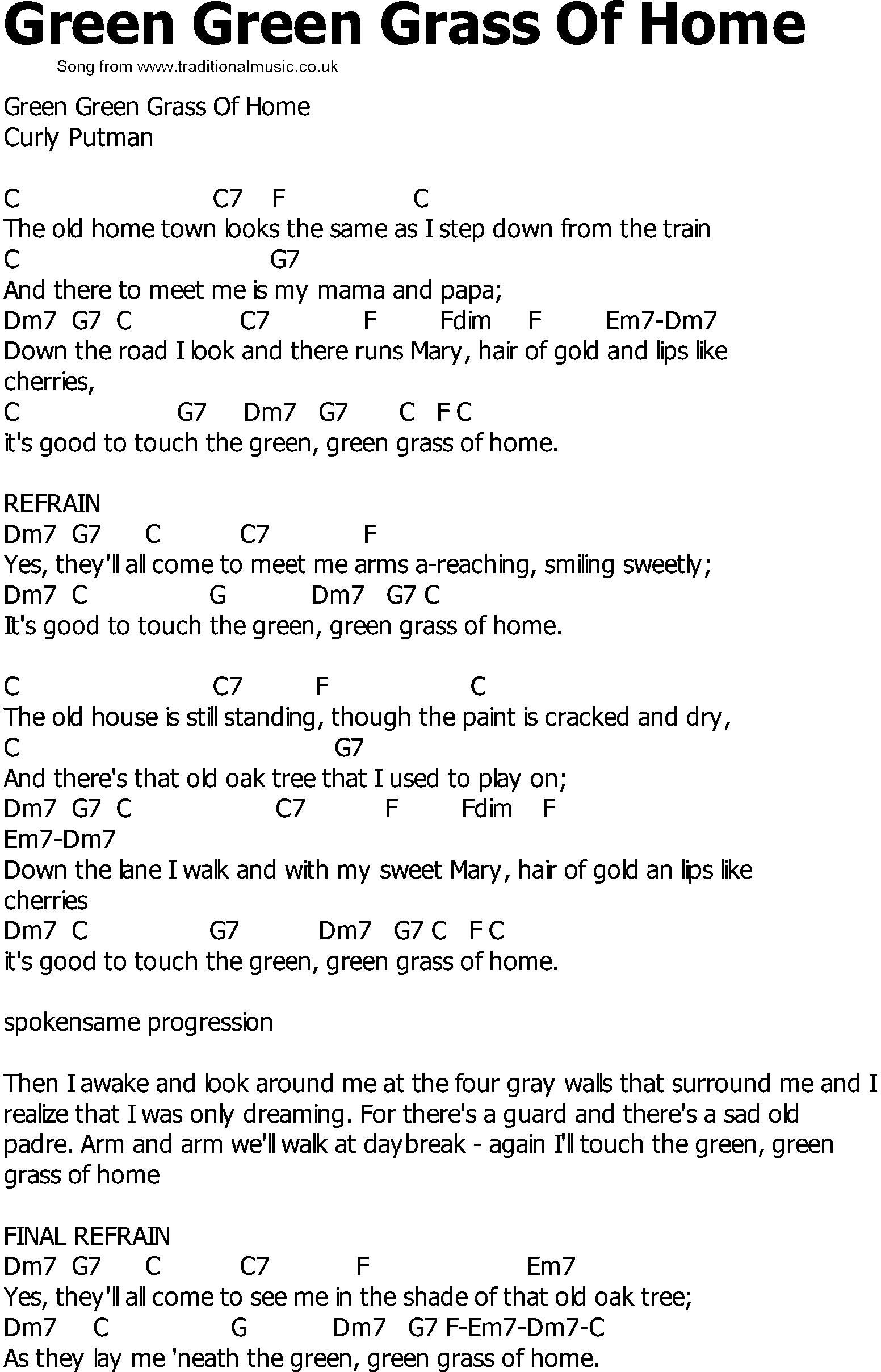 Old Country song lyrics with chords - Green Green Grass Of ...