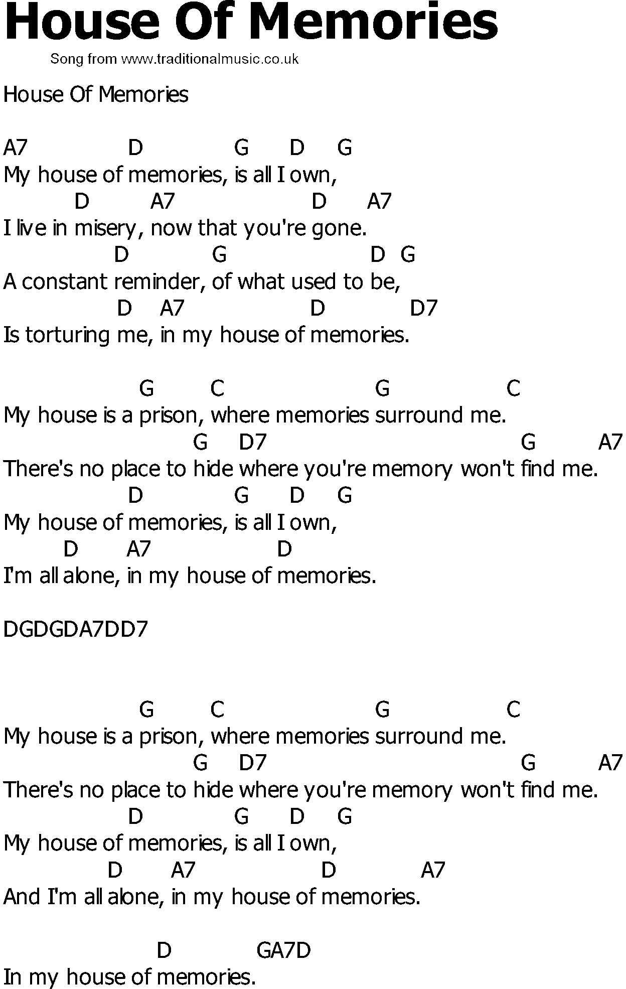 Old country song lyrics with chords house of memories for Classic house music songs