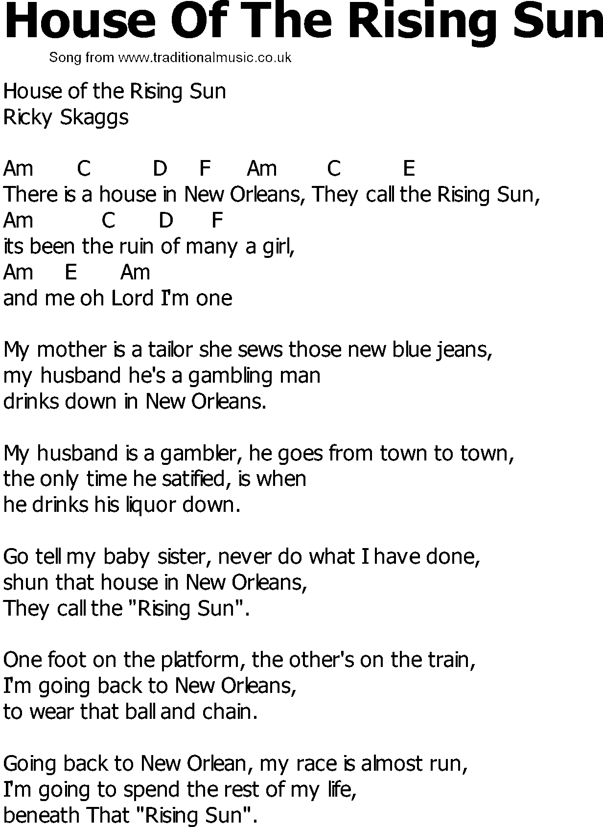 Old Country song lyrics with chords - House Of The Rising Sun